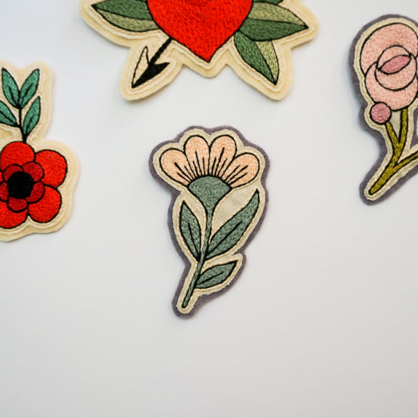Sew on Patch for Jackets - Flower Patch - Redwork Stitches