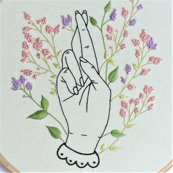 Crossed Fingers Embroidery Art, Good Luck Sign - Redwork Stitches