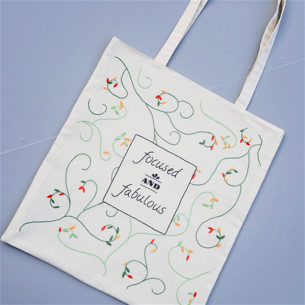 Reusable Tote Bag with Hand Embroidered Quote - Redwork Stitches