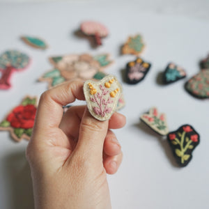 Flower Hand Embroidery Art - Brooch - Redwork Stitches