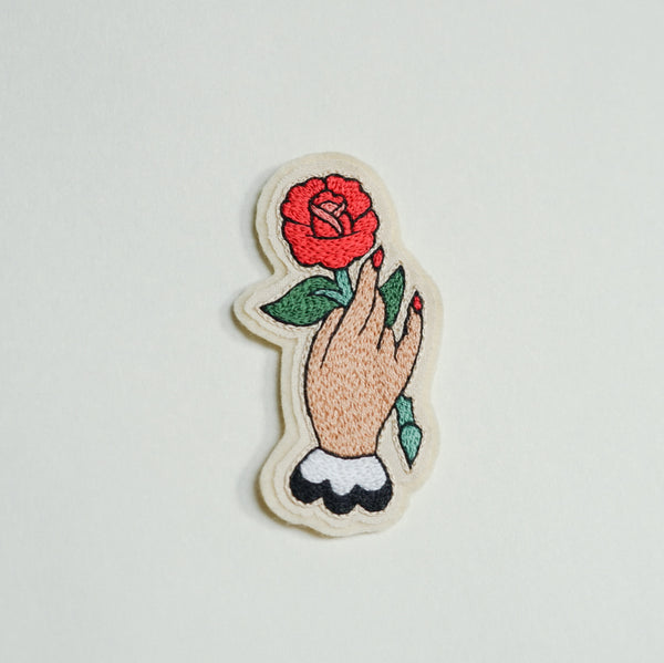 Hand with Rose Embroidery Patch - Redwork Stitches