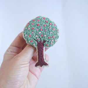 Hand Embroidery Tree Pin - Redwork Stitches