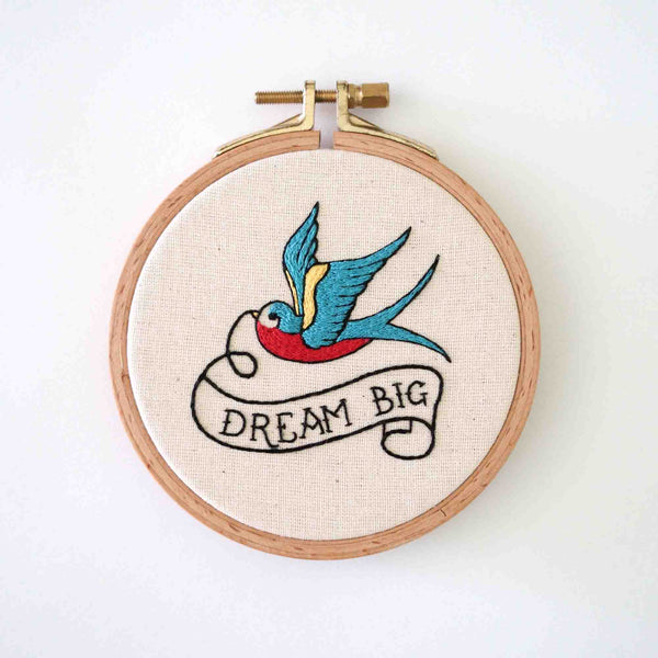 Hand Embroidered Swallow - Dream Big - Redwork Stitches