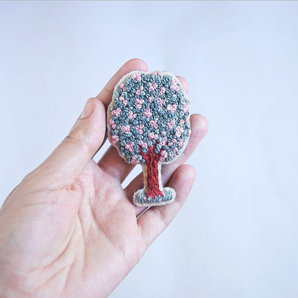 Tree Brooch - Modern Embroidery Art - Redwork Stitches