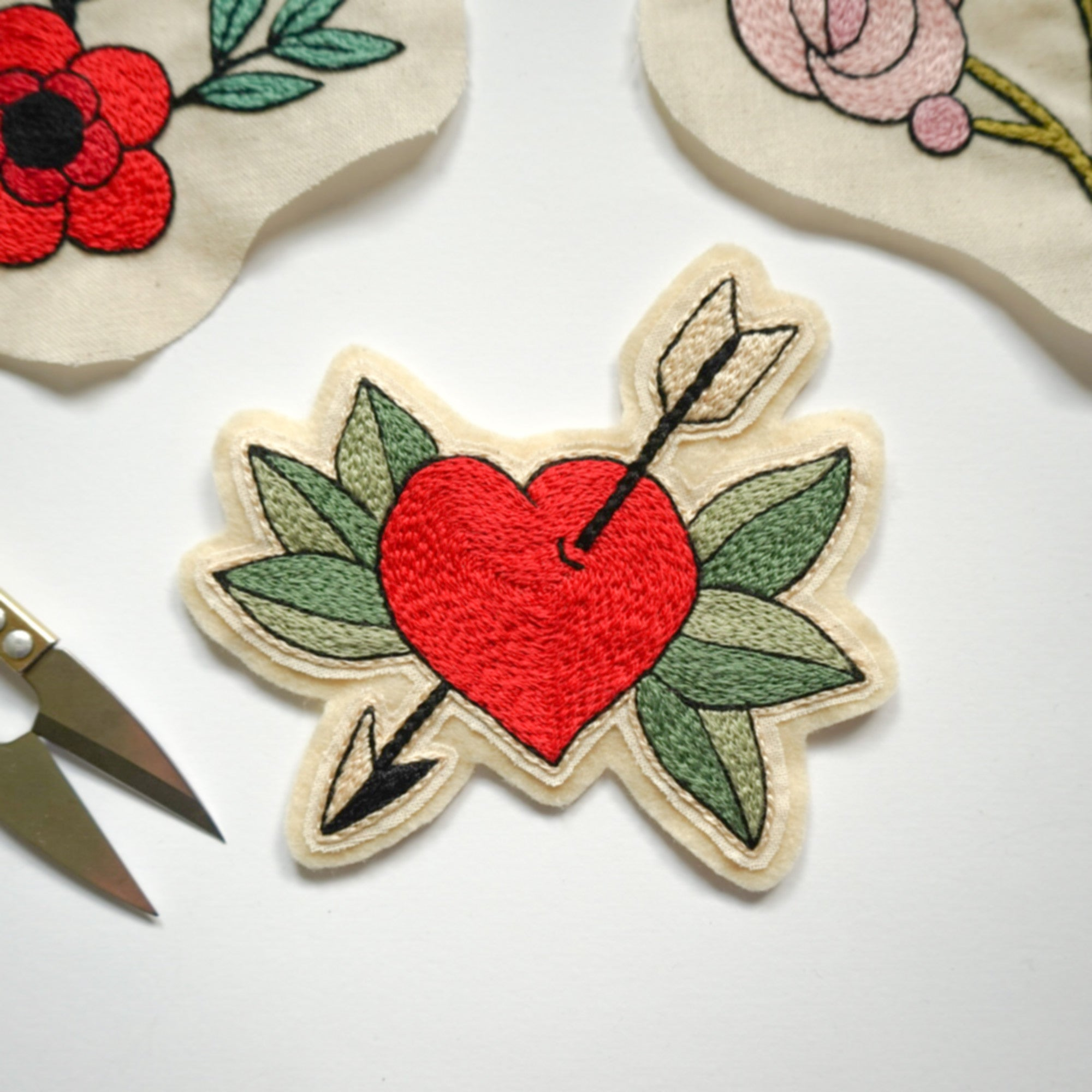 Hand Embroidery Heart With Arrow Patch - Redwork Stitches