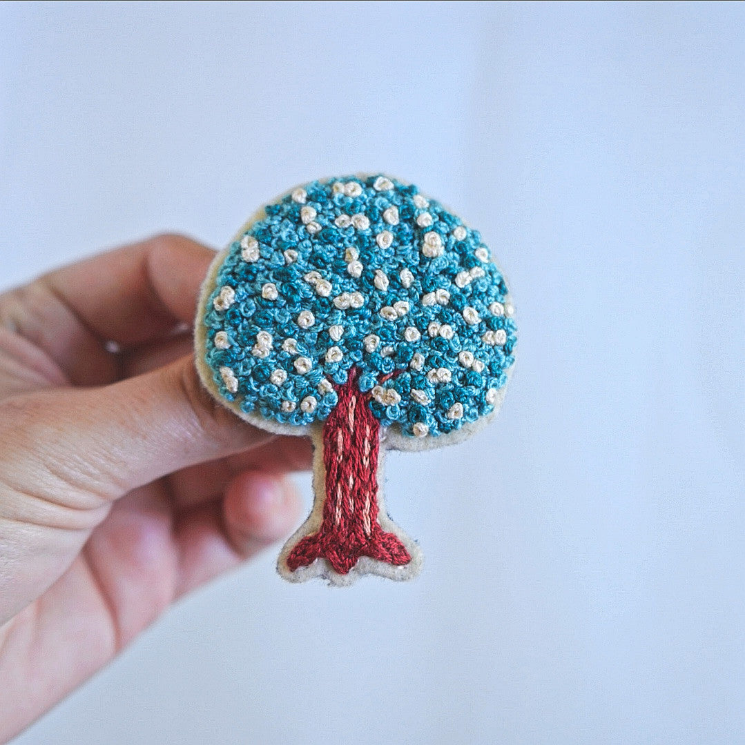 Hand Embroidery Tree Brooch - Redwork Stitches