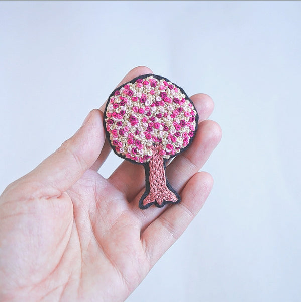 Tree Pin - Hand Embroidered - Redwork Stitches