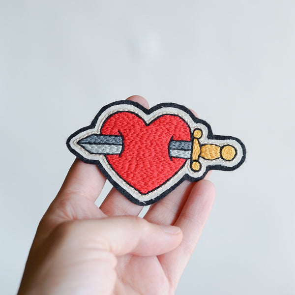 Heart and Dagger - Embroidery Patch - Redwork Stitches