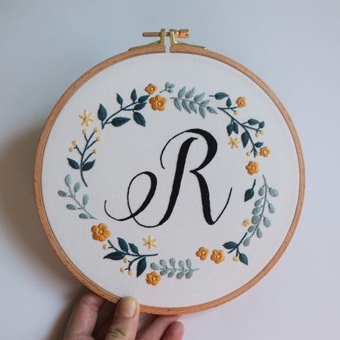 Initial Embroidery Hoop Art - Redwork Stitches