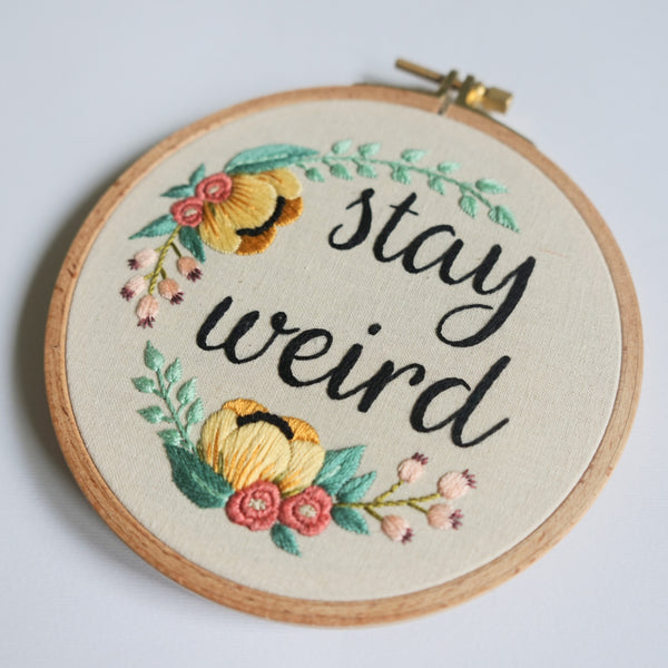 Funny Embroidery Art - Stay Weird Quote - Redwork Stitches
