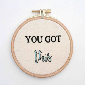 Inspirational Hand Embroidered Hoop - You Got This - Redwork Stitches