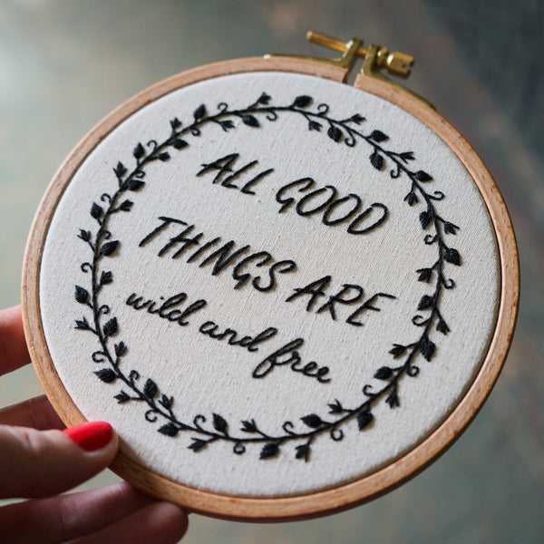 Floral Embroidery with Inspirational Quote - Redwork Stitches