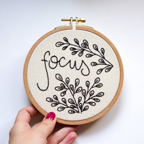 Hand Embroidery Hoop Art - Focus Quote - Redwork Stitches