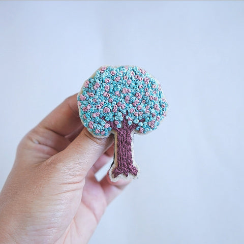 Embroidery Art - Tree Pin - Redwork Stitches