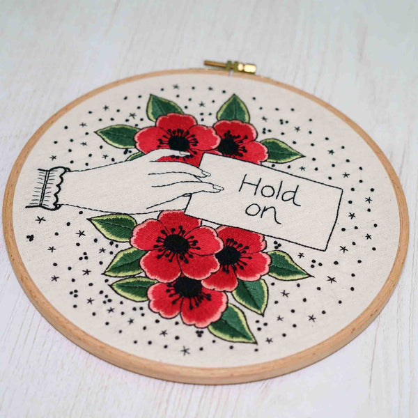 Modern Floral Embroidery - Hold On - Redwork Stitches