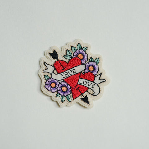 True Love - Hand Embroidery Flower Patch - Redwork Stitches
