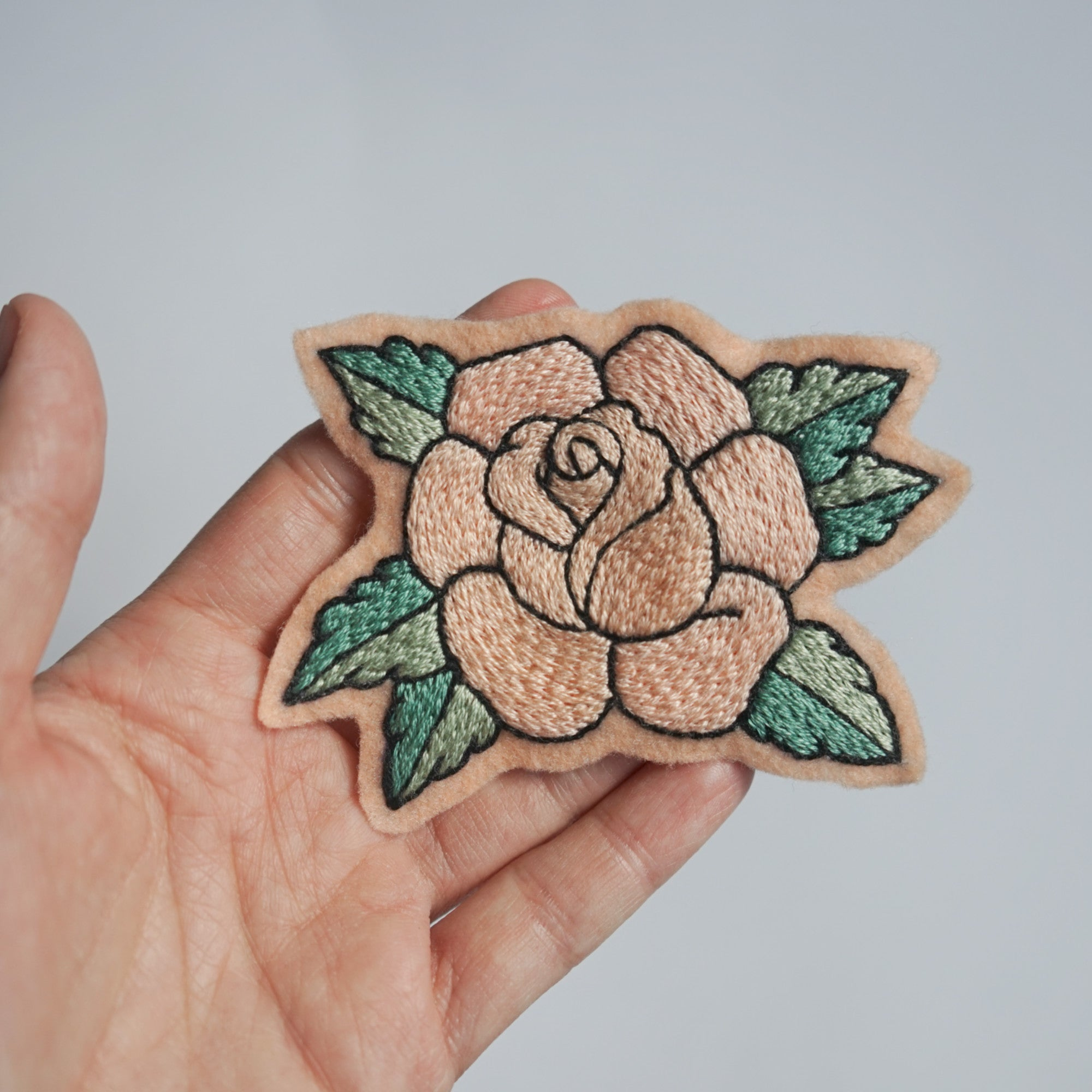 Pink Rose Patch - Hand Embroidered Flower - Redwork Stitches