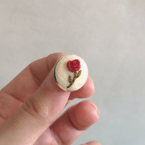 Hand Embroidered Red Rose Pin - Redwork Stitches