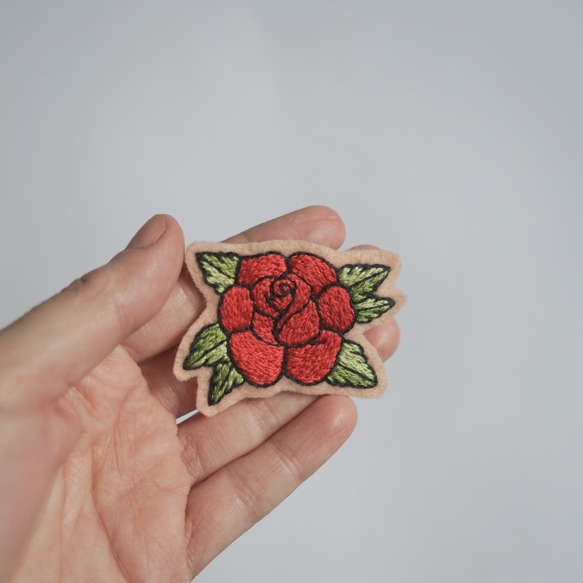 Red Rose Hand Embroidery Patch - Redwork Stitches