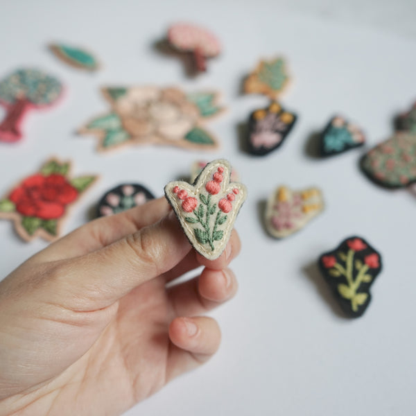 Flower Pin - Embroidery Art - Redwork Stitches