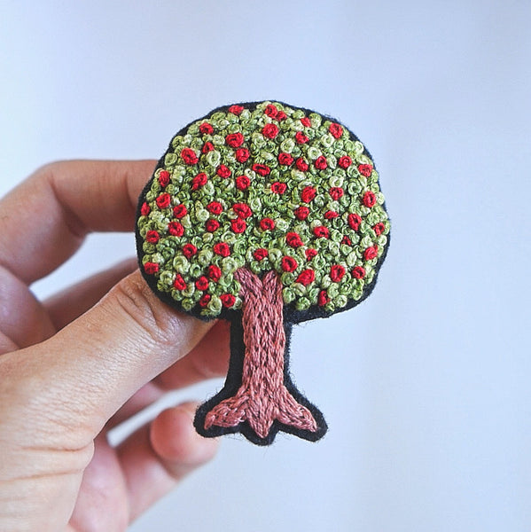 Tree Brooch - Flower Embroidery Art - Redwork Stitches