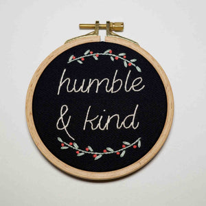 Inspirational Quote Embroidery Art - Humble and Kind - Redwork Stitches
