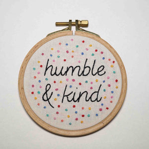 Positive Quote Redwork Embroidery Decor - Humble and Kind - Redwork Stitches
