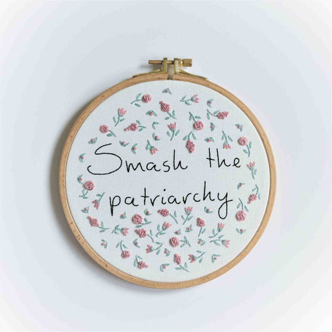 Feminist Flower Embroidery Wall Art - Smash The Patriarchy - Redwork Stitches