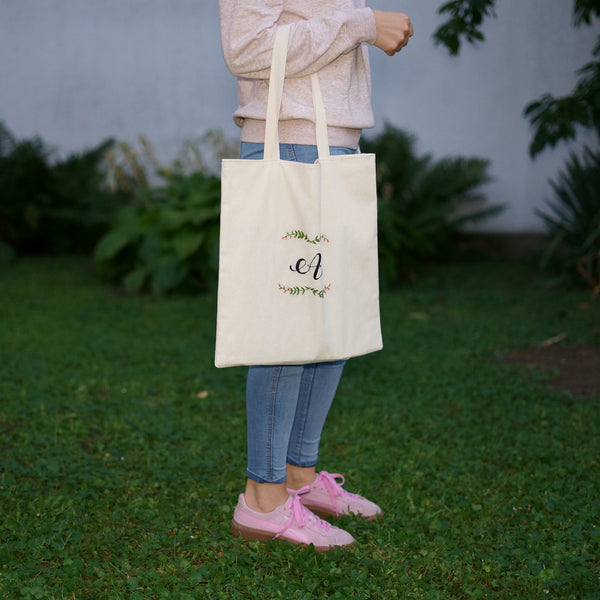 Beautiful Monogram Tote Bag - Redwork Stitches