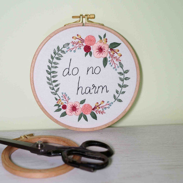 Inspirational Floral Wall Art - Do No Harm - Redwork Stitches
