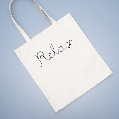 "Powerful Expression Canvas Tote Bag - ""Relax"" - Redwork Stitches"