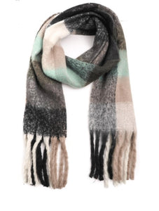 Checkered Plaid Oblong Scarf