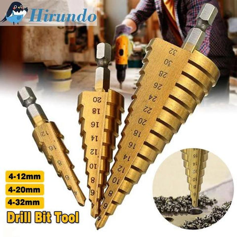 3 PCS HSS Titanium Coated Cone Step Drill Bit Set, Metric 4-12/20/32mm