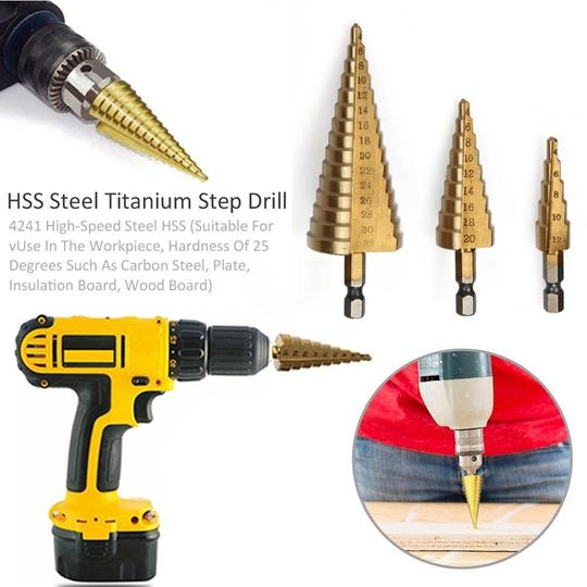 AMAZING!!! - 3 PCS HSS Titanium Coated Cone Step Drill Bit Set, Metric 4-12/20/32mm - 50% OFF ONLY TODAY