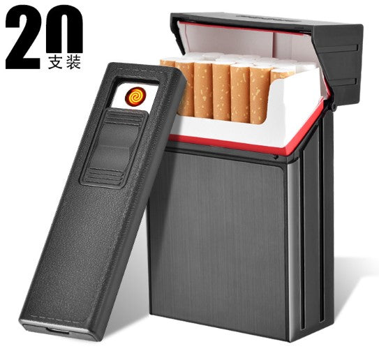 AMAZING!!! - New 20 Pack Metal Cigarette Case + USB Electronic Lighter