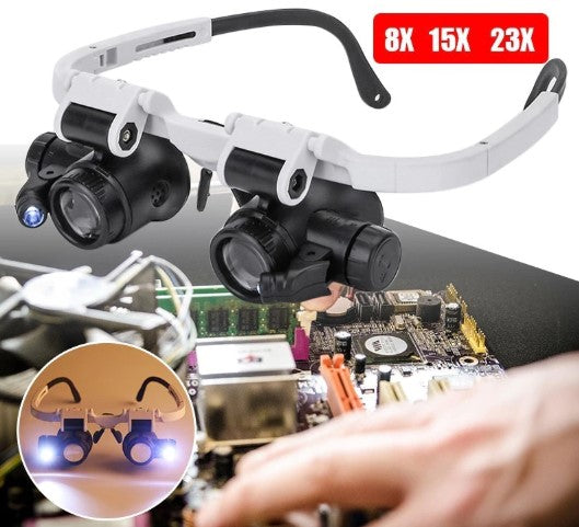 Glasses Double Magnifying With LED Light