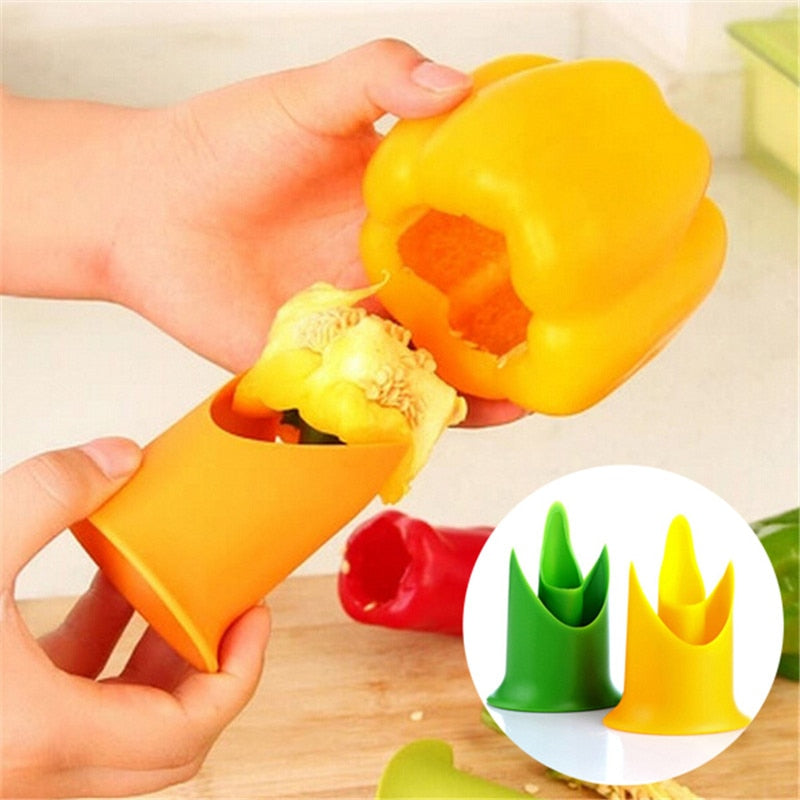 2in1 Pepper Chili Bell Jalapeno Corer Seed Remover Green Pepper Chilli Cutter Corer Slicer Fruit Peeler Kitchen Utensil 301-0446