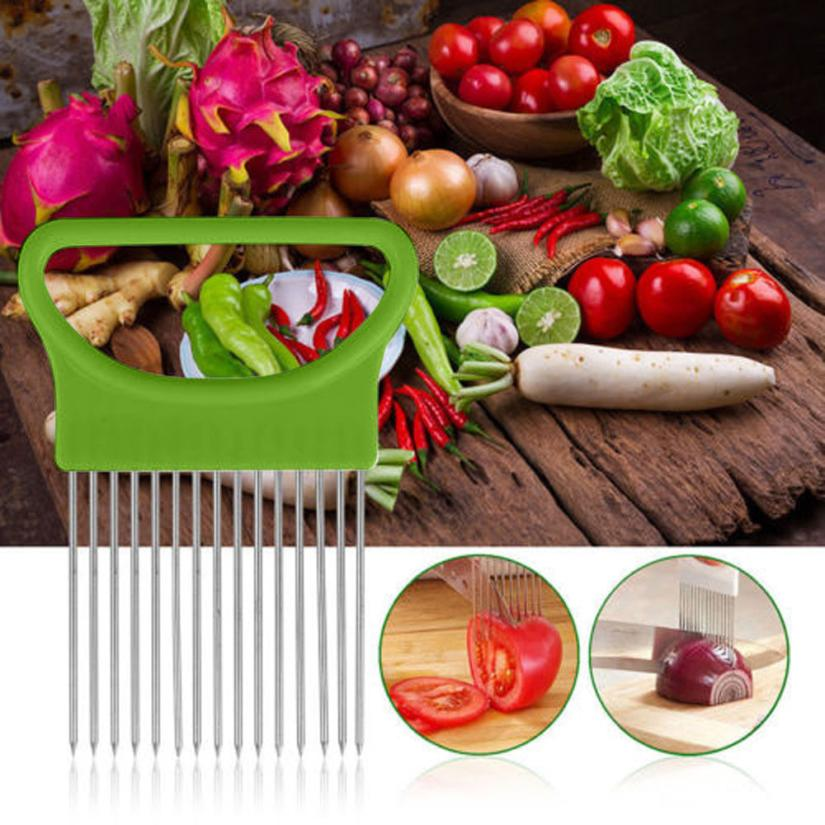 2017 New Shrendders & Slicers Tomato Onion Vegetables Slicer Cutting Aid Holder Guide Slicing Cutter Safe Fork