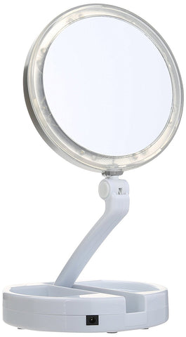 LED Lighted Folding Vanity Travel Mirror