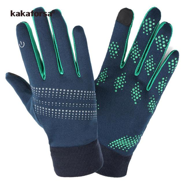 Kakaforsa 2018 Running Gloves Men Women Touch Screen Outdoor Sports Glove Windproof Anti-Slip Full Finger Cycling Riding Gloves