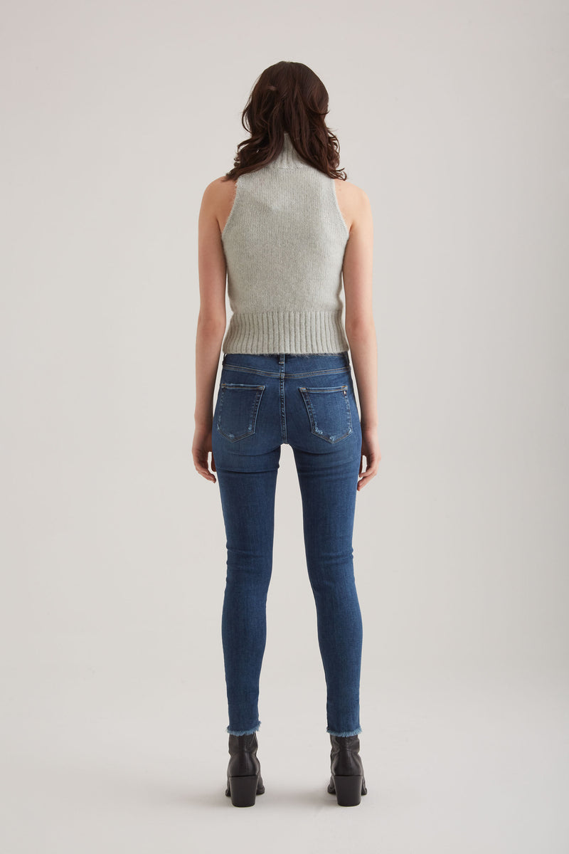 Lina - High Waist Skinny - Dark Blue Fringe
