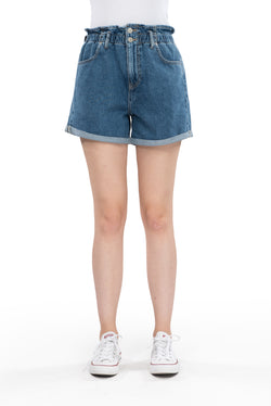 Elisa - Baggy Jeans Short - Medium Blue