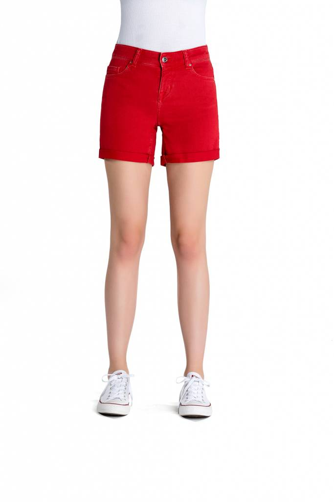 Emma - Denim Shorts - Poppy Red