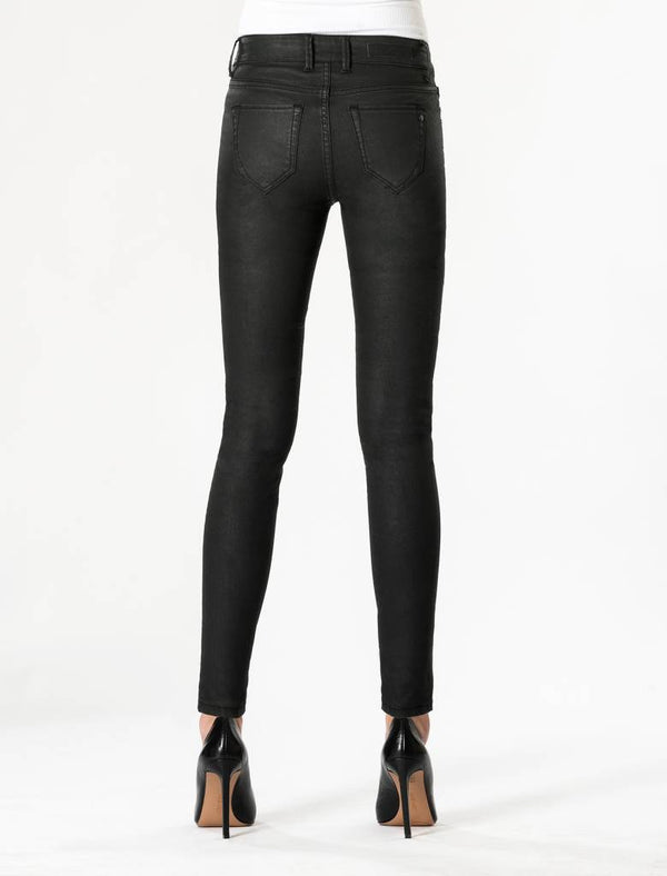Sylvia - High Waist Super Skinny - Black Coated