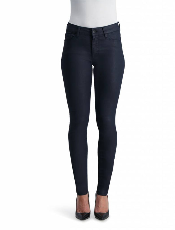 Sylvia - High Waist Super Skinny - Navy Coated