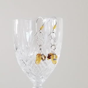 Patty Nance Jewelry Studio, dangle earrings with hand-crafted findings, amber colored glass charms, silver-plated pewter earwires