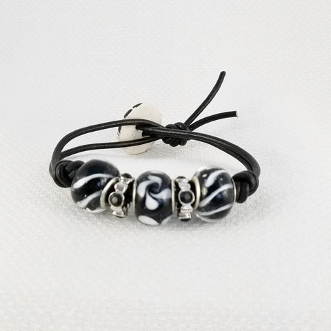 Bracelet - Leather, beads, and sparkle