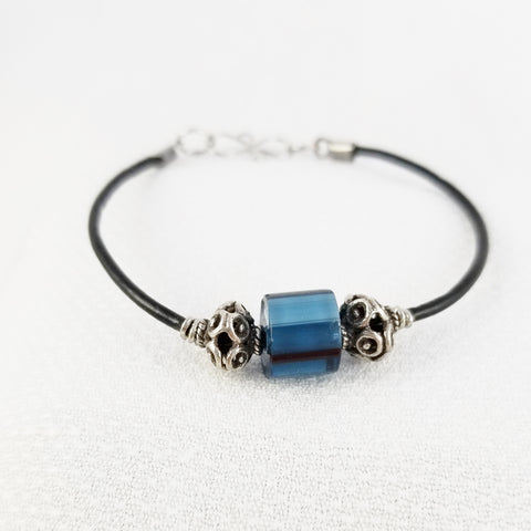 Bracelet - Leather, pewter, and cane glass bead