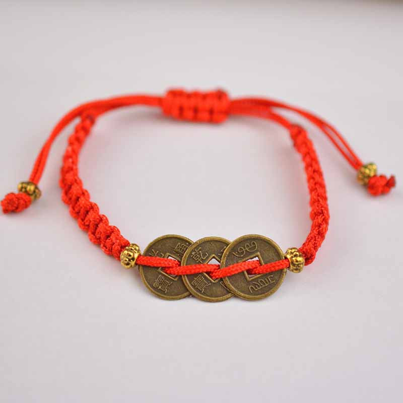 Feng Shui Red String Bracelet Brass Chinese Coins Leoqueen Magick