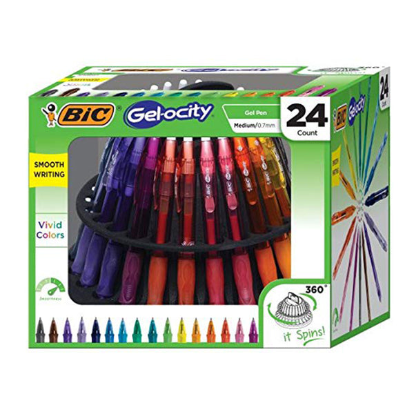 BIC Gel-ocity Retractable Gel Pen Spinner, Assorted Colors, 24-Count